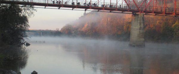 Fair Oaks Bridge, cyclists, Fair Oaks, fog, morning, American River